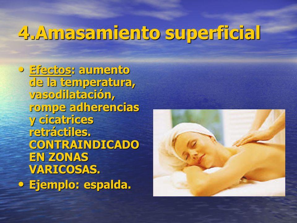 4.Amasamiento superficial Efectos: aumento de la temperatura, vasodilatación, rompe adherencias y cicatrices retráctiles. CONTRAINDICADO EN ZONAS VARI