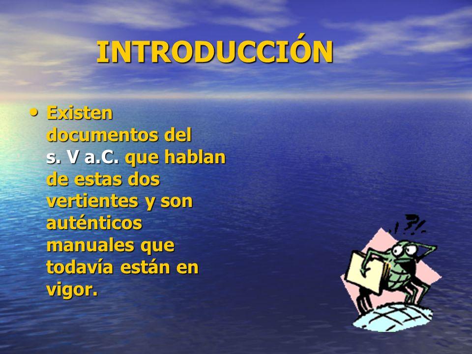 INTRODUCCIÓN INTRODUCCIÓN Existen documentos del s. V a.C. que hablan de estas dos vertientes y son auténticos manuales que todavía están en vigor. Ex