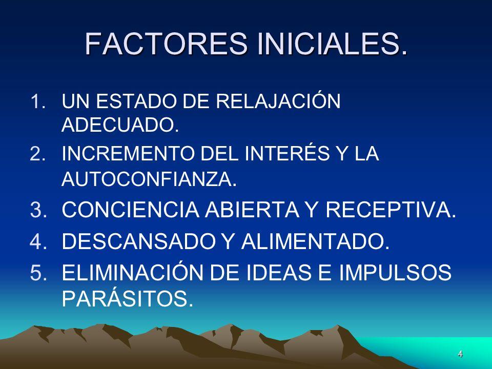 4 FACTORES INICIALES. 1.UN ESTADO DE RELAJACIÓN ADECUADO. 2.INCREMENTO DEL INTERÉS Y LA AUTOCONFIANZA. 3.CONCIENCIA ABIERTA Y RECEPTIVA. 4.DESCANSADO