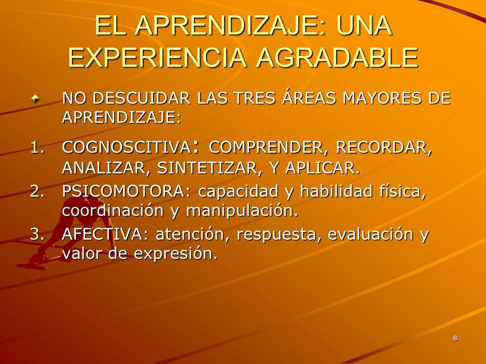 8 EL APRENDIZAJE: UNA EXPERIENCIA AGRADABLE NO DESCUIDAR LAS TRES ÁREAS MAYORES DE APRENDIZAJE: 1.COGNOSCITIVA : COMPRENDER, RECORDAR, ANALIZAR, SINTE