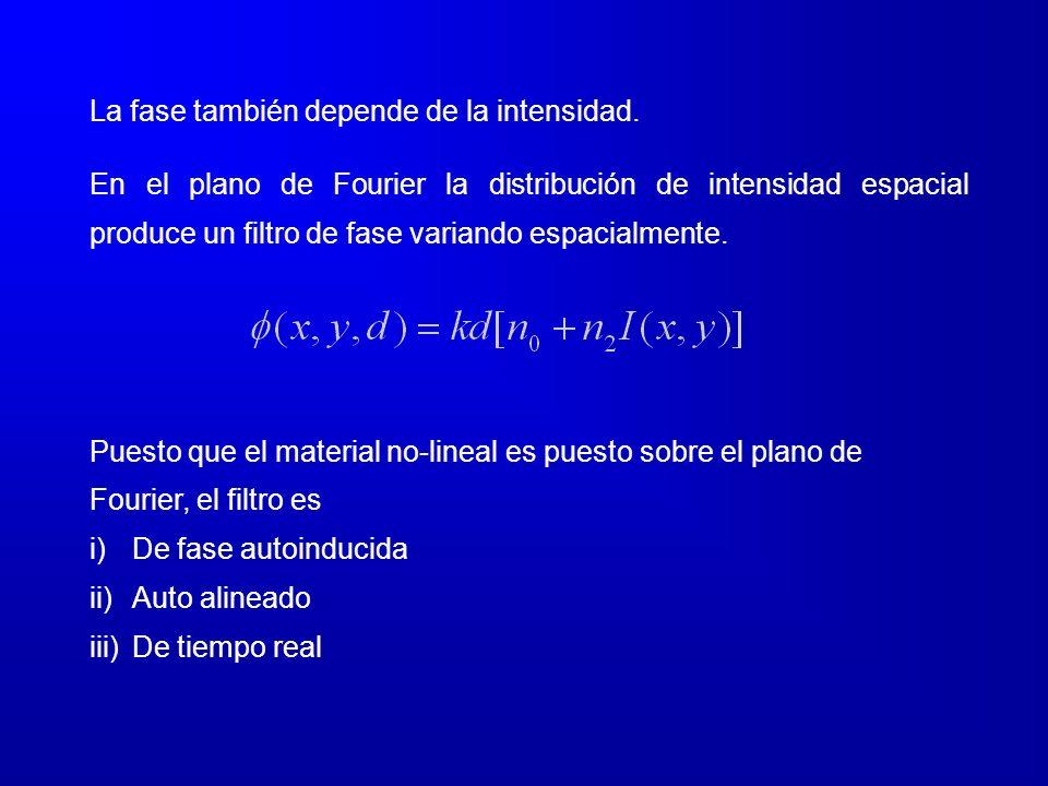 La fase también depende de la intensidad. En el plano de Fourier la distribución de intensidad espacial produce un filtro de fase variando espacialmen