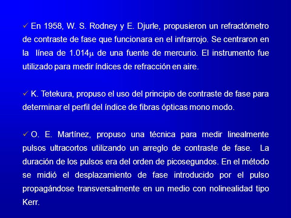 En 1958, W. S. Rodney y E. Djurle, propusieron un refractómetro de contraste de fase que funcionara en el infrarrojo. Se centraron en la línea de 1.01
