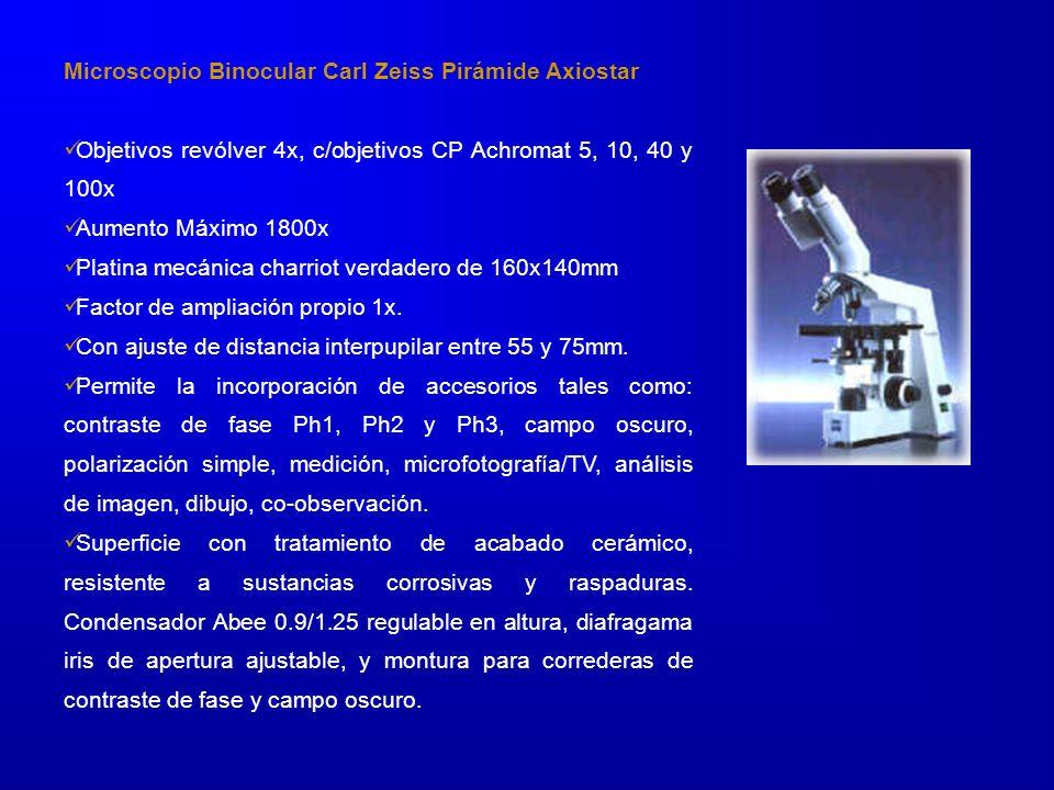 Microscopio Binocular Carl Zeiss Pirámide Axiostar Objetivos revólver 4x, c/objetivos CP Achromat 5, 10, 40 y 100x Aumento Máximo 1800x Platina mecánica charriot verdadero de 160x140mm Factor de ampliación propio 1x.