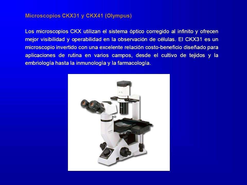 Microscopios CKX31 y CKX41 (Olympus) Los microscopios CKX utilizan el sistema óptico corregido al infinito y ofrecen mejor visibilidad y operabilidad en la observación de células.