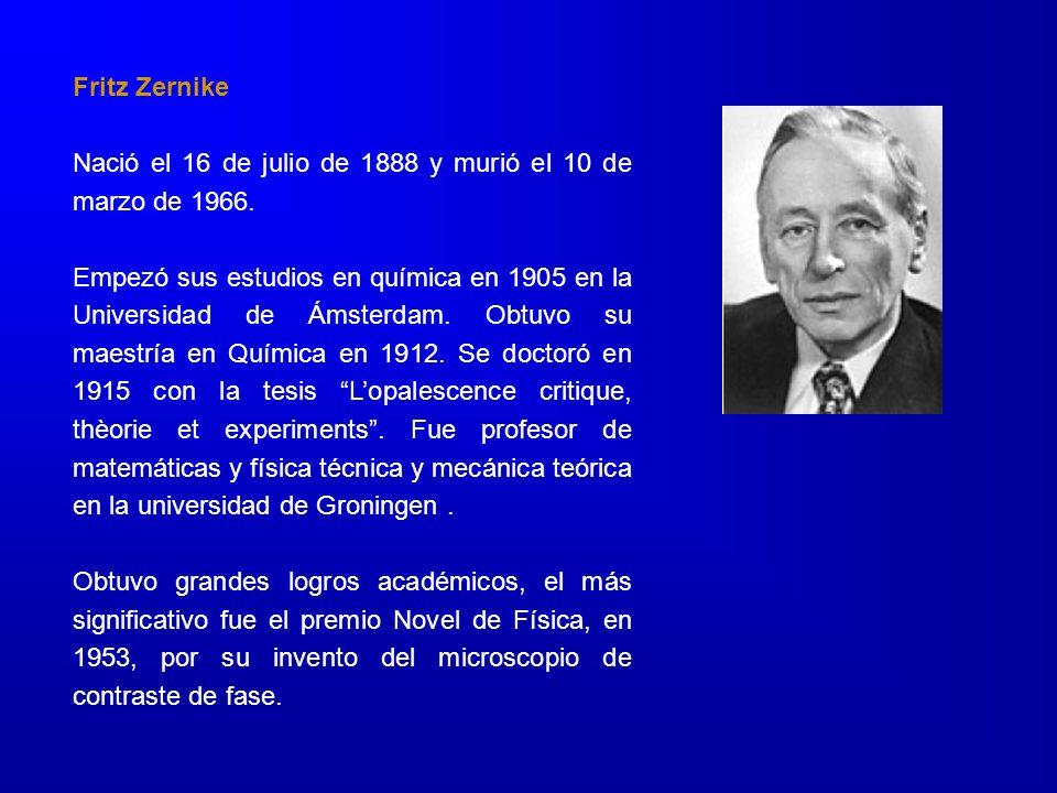 Fritz Zernike Nació el 16 de julio de 1888 y murió el 10 de marzo de 1966. Empezó sus estudios en química en 1905 en la Universidad de Ámsterdam. Obtu