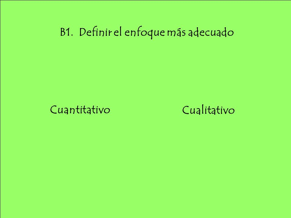 B1. Definir el enfoque más adecuado Cualitativo Cuantitativo
