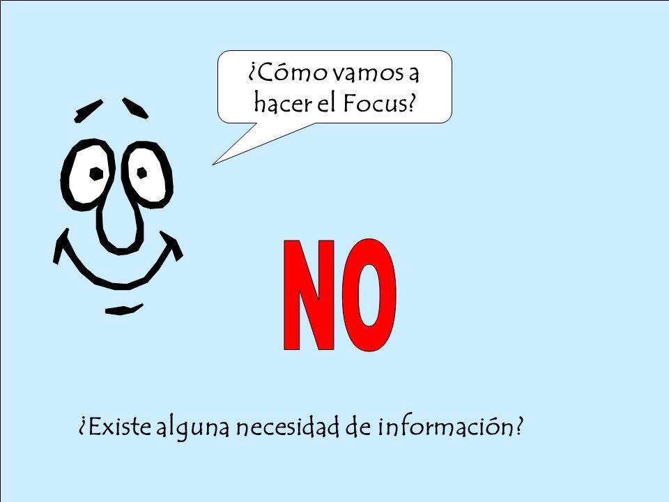 ¿Existe alguna necesidad de información ¿Cómo vamos a hacer el Focus