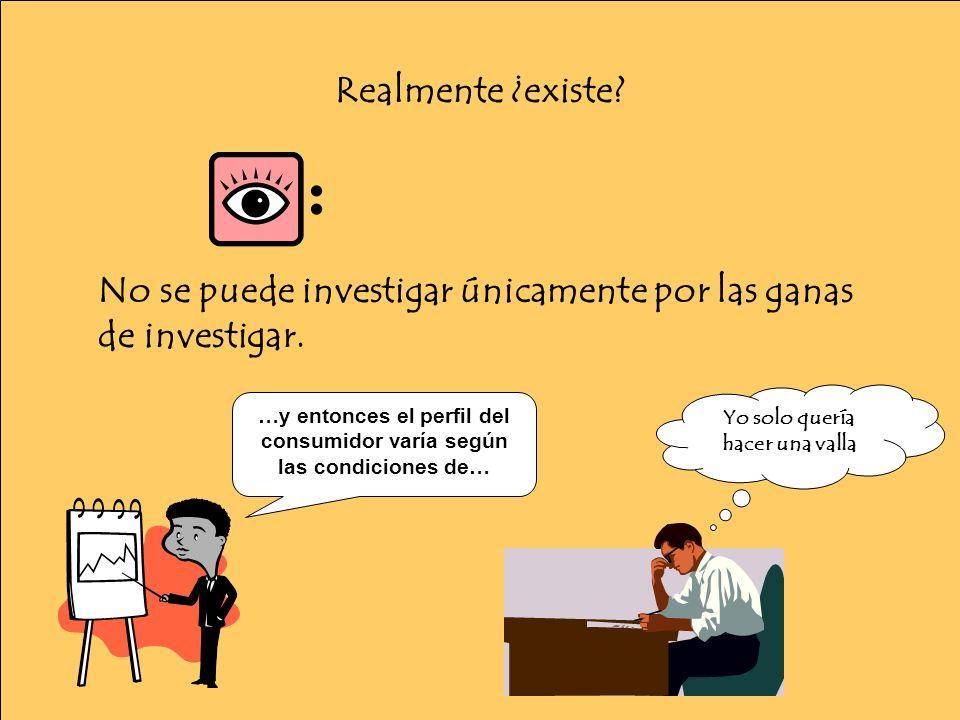 Realmente ¿existe. : No se puede investigar únicamente por las ganas de investigar.