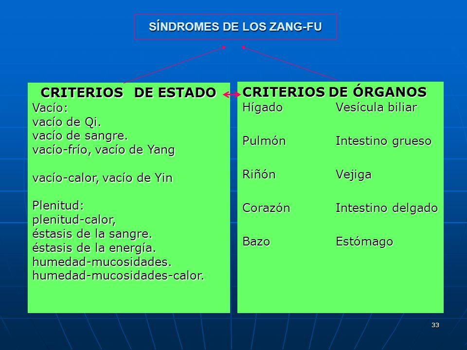 33 SÍNDROMES DE LOS ZANG-FU CRITERIOS DE ÓRGANOS HígadoVesícula biliar PulmónIntestino grueso RiñónVejiga CorazónIntestino delgado BazoEstómago CRITER