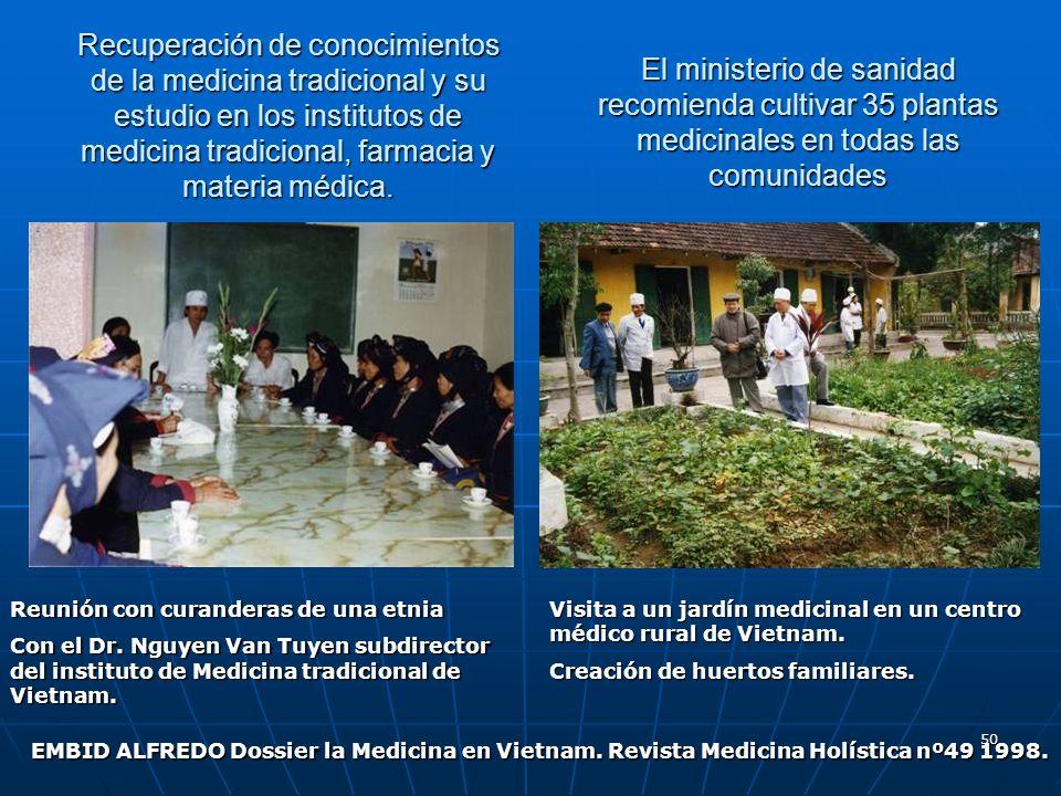 50 Recuperación de conocimientos de la medicina tradicional y su estudio en los institutos de medicina tradicional, farmacia y materia médica. El mini