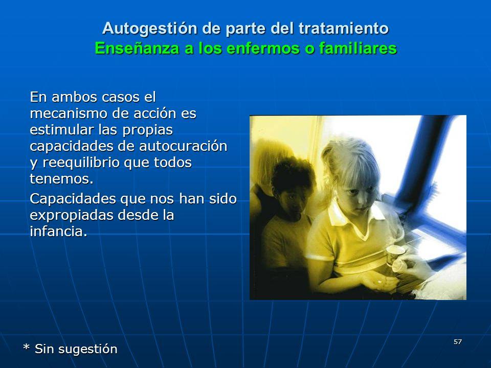 57 Autogestión de parte del tratamiento Enseñanza a los enfermos o familiares En ambos casos el mecanismo de acción es estimular las propias capacidad