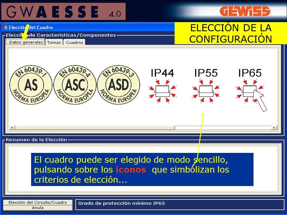 El cuadro puede ser elegido de modo sencillo, pulsando sobre los iconos que simbolizan los criterios de elección... ELECCIÓN DE LA CONFIGURACIÓN