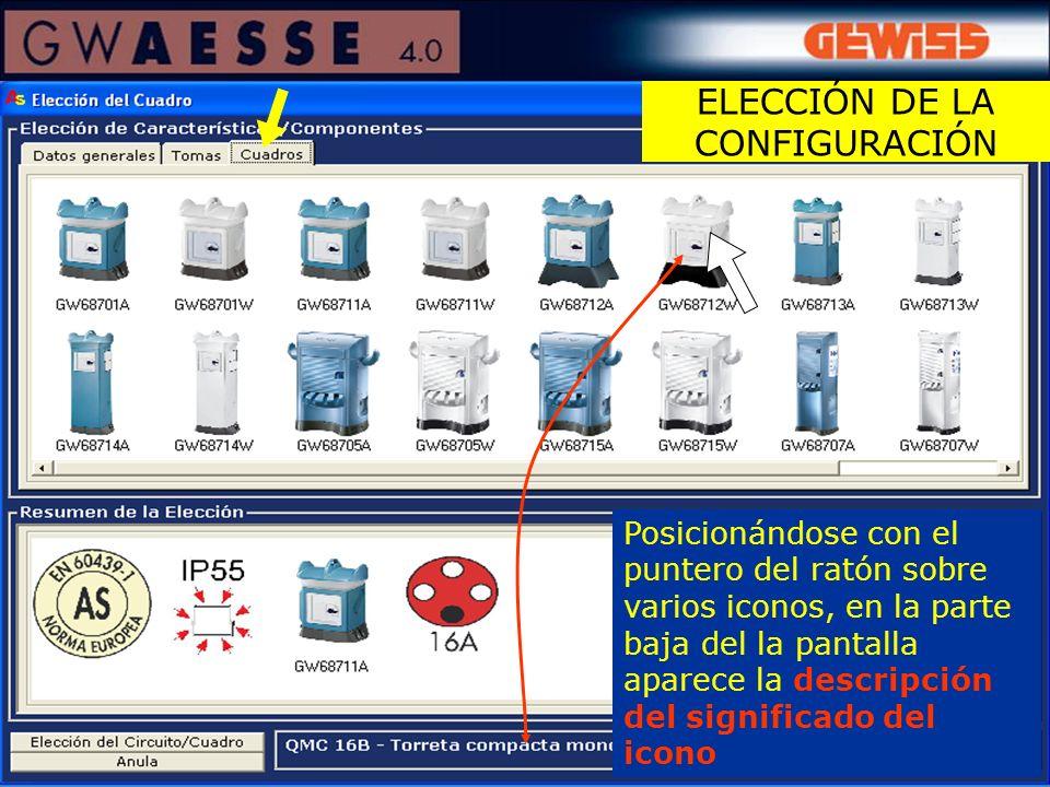 Posicionándose con el puntero del ratón sobre varios iconos, en la parte baja del la pantalla aparece la descripción del significado del icono ELECCIÓ
