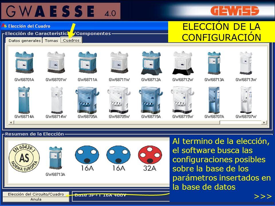 Al termino de la elección, el software busca las configuraciones posibles sobre la base de los parámetros insertados en la base de datos >>>