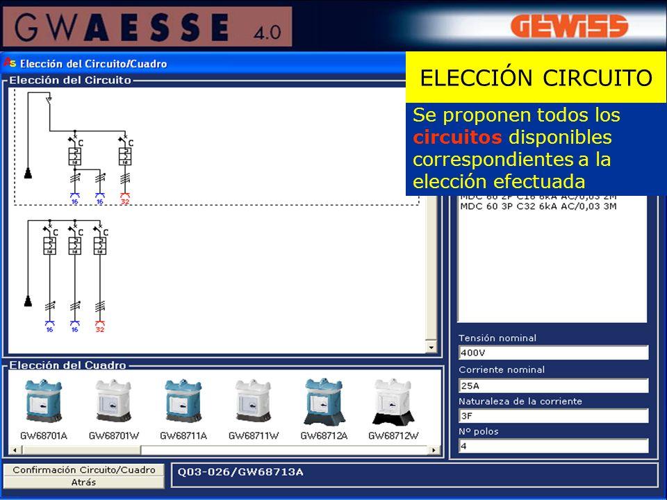 Se proponen todos los circuitos disponibles correspondientes a la elección efectuada ELECCIÓN CIRCUITO