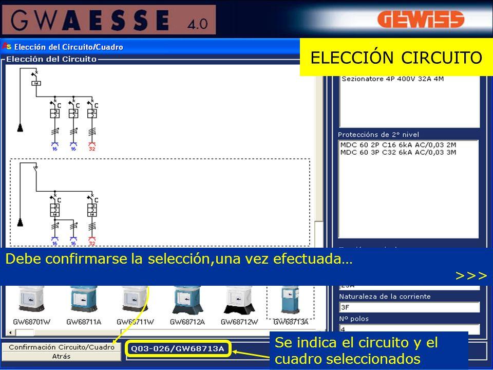 ELECCIÓN CIRCUITO Se indica el circuito y el cuadro seleccionados Debe confirmarse la selección,una vez efectuada… >>>