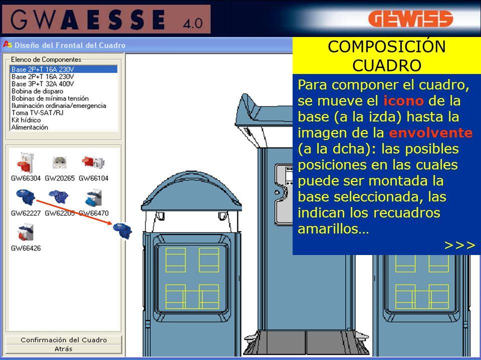 Para componer el cuadro, se mueve el icono de la base (a la izda) hasta la imagen de la envolvente (a la dcha): las posibles posiciones en las cuales