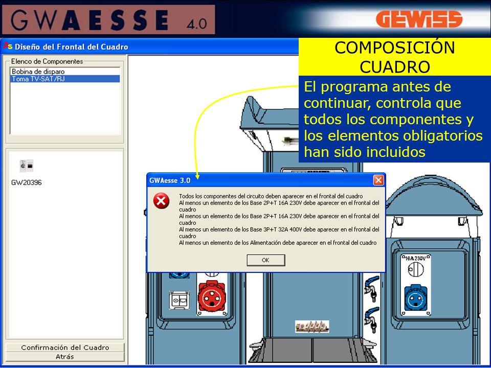 COMPOSICIÓN CUADRO El programa antes de continuar, controla que todos los componentes y los elementos obligatorios han sido incluidos