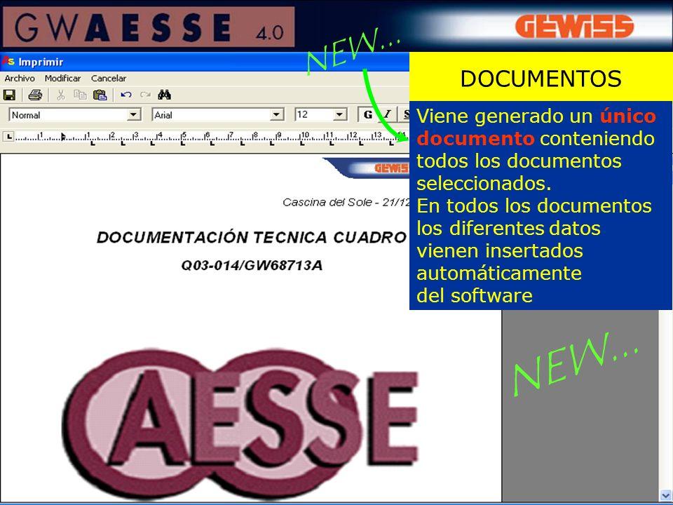 DOCUMENTOS Viene generado un único documento conteniendo todos los documentos seleccionados. En todos los documentos los diferentes datos vienen inser