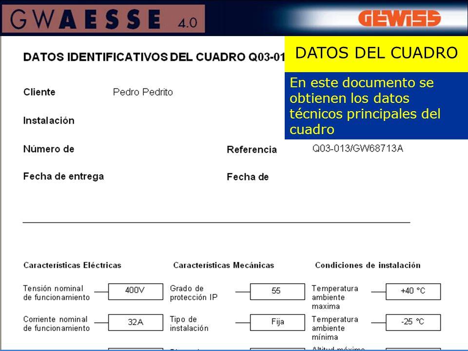 En este documento se obtienen los datos técnicos principales del cuadro DATOS DEL CUADRO