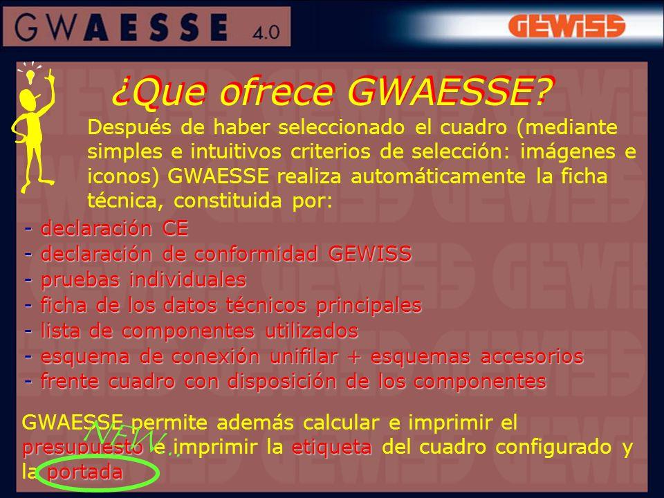 ¿Que ofrece GWAESSE? - declaración CE - declaración de conformidad GEWISS - pruebas individuales - ficha de los datos técnicos principales - lista de