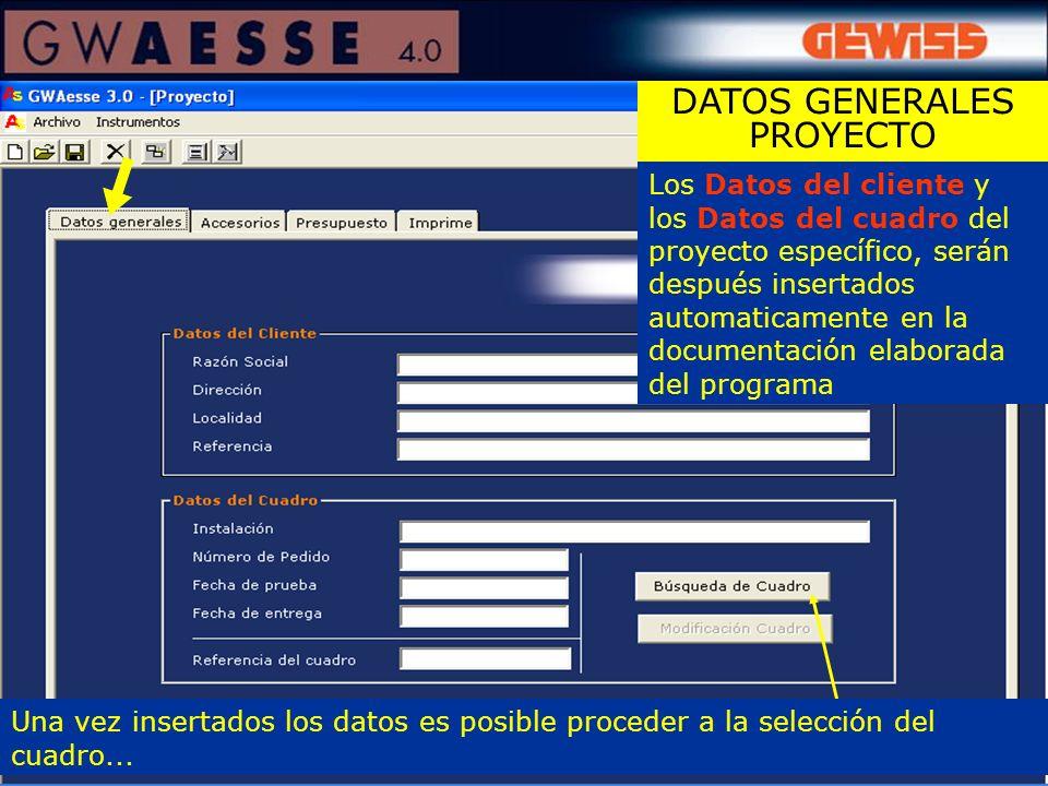 Los Datos del cliente y los Datos del cuadro del proyecto específico, serán después insertados automaticamente en la documentación elaborada del progr
