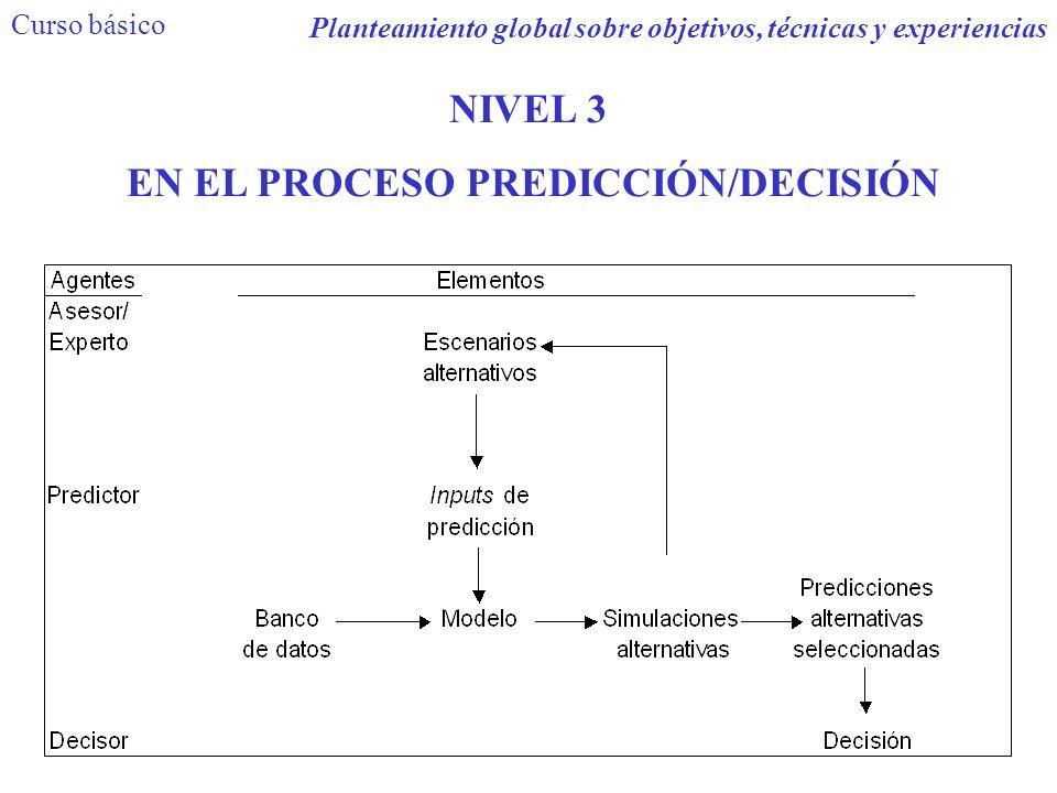 NIVEL 3 EN EL PROCESO PREDICCIÓN/DECISIÓN Planteamiento global sobre objetivos, técnicas y experiencias Curso básico