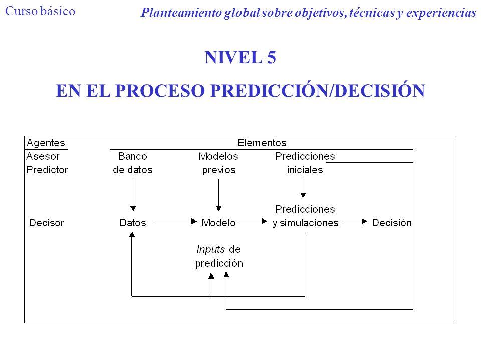 Curso básico Planteamiento global sobre objetivos, técnicas y experiencias NIVEL 5 EN EL PROCESO PREDICCIÓN/DECISIÓN