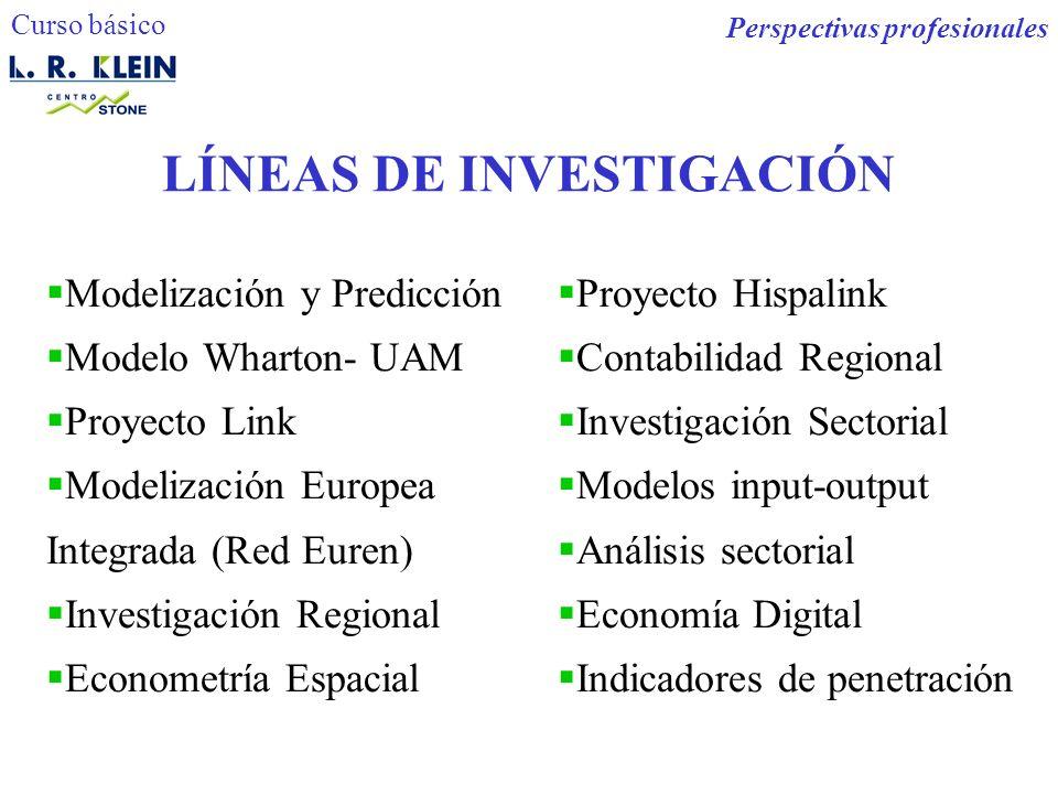 LÍNEAS DE INVESTIGACIÓN Modelización y Predicción Modelo Wharton- UAM Proyecto Link Modelización Europea Integrada (Red Euren) Investigación Regional