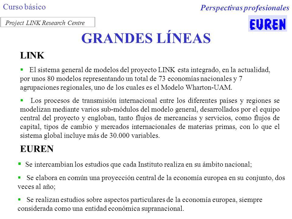 GRANDES LÍNEAS LINK El sistema general de modelos del proyecto LINK esta integrado, en la actualidad, por unos 80 modelos representando un total de 73