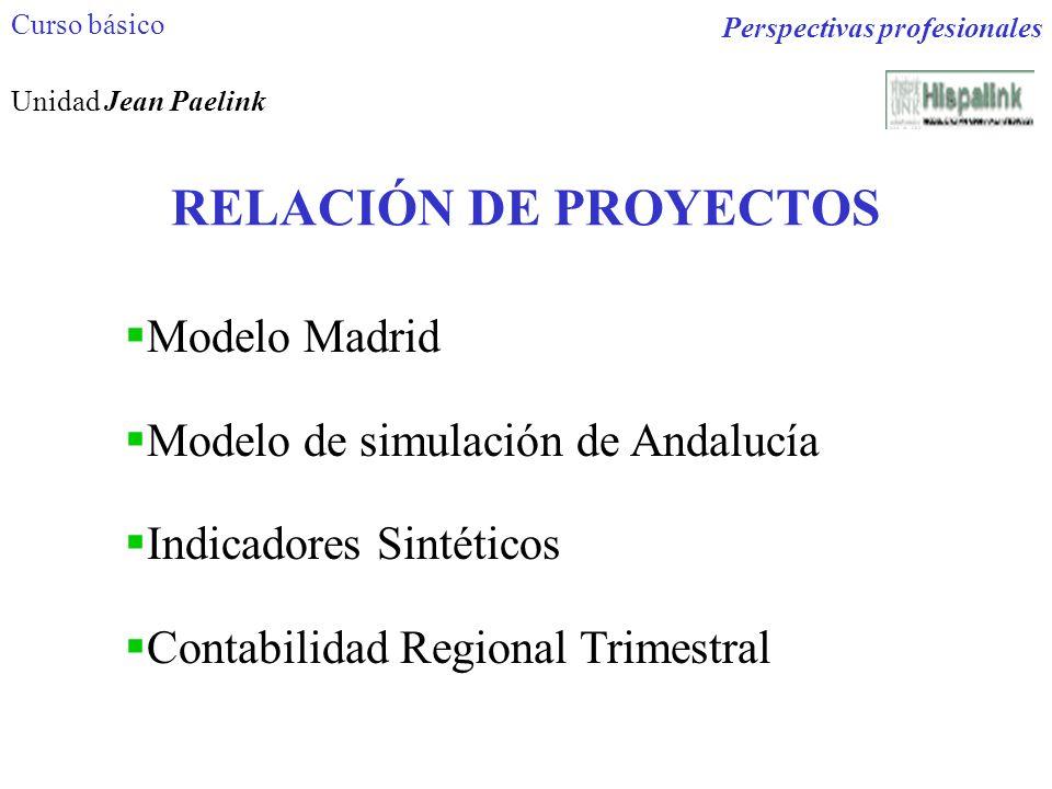 RELACIÓN DE PROYECTOS Modelo Madrid Modelo de simulación de Andalucía Indicadores Sintéticos Contabilidad Regional Trimestral Perspectivas profesional