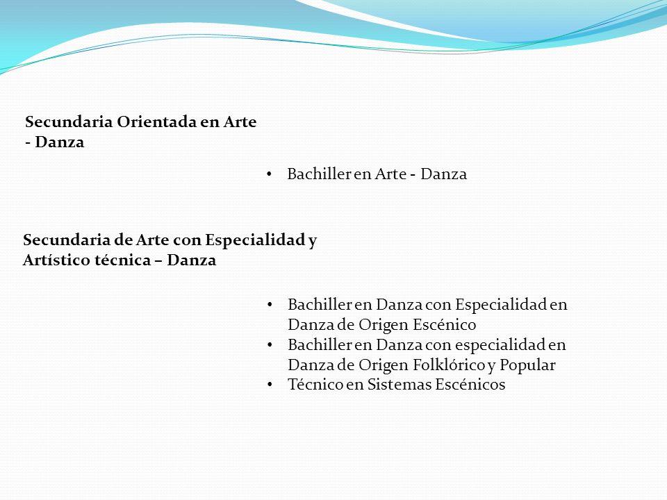 Secundaria Orientada en Arte - Danza Bachiller en Arte - Danza Bachiller en Danza con Especialidad en Danza de Origen Escénico Bachiller en Danza con