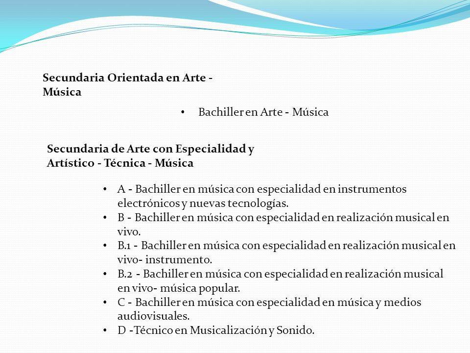 Bachiller en Arte - Música Secundaria Orientada en Arte - Música A - Bachiller en música con especialidad en instrumentos electrónicos y nuevas tecnol