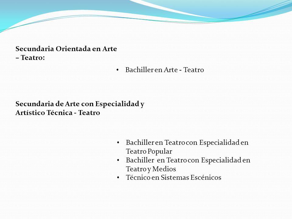 Secundaria Orientada en Arte – Teatro: Bachiller en Arte - Teatro Bachiller en Teatro con Especialidad en Teatro Popular Bachiller en Teatro con Espec