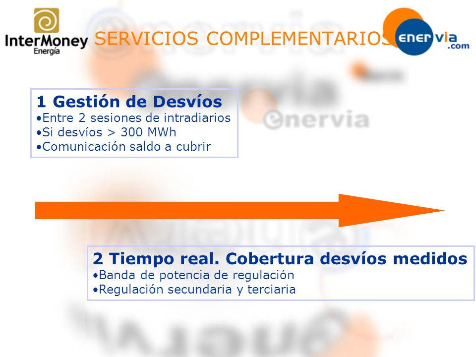 SERVICIOS COMPLEMENTARIOS 1 Gestión de Desvíos Entre 2 sesiones de intradiarios Si desvíos > 300 MWh Comunicación saldo a cubrir 2 Tiempo real. Cobert
