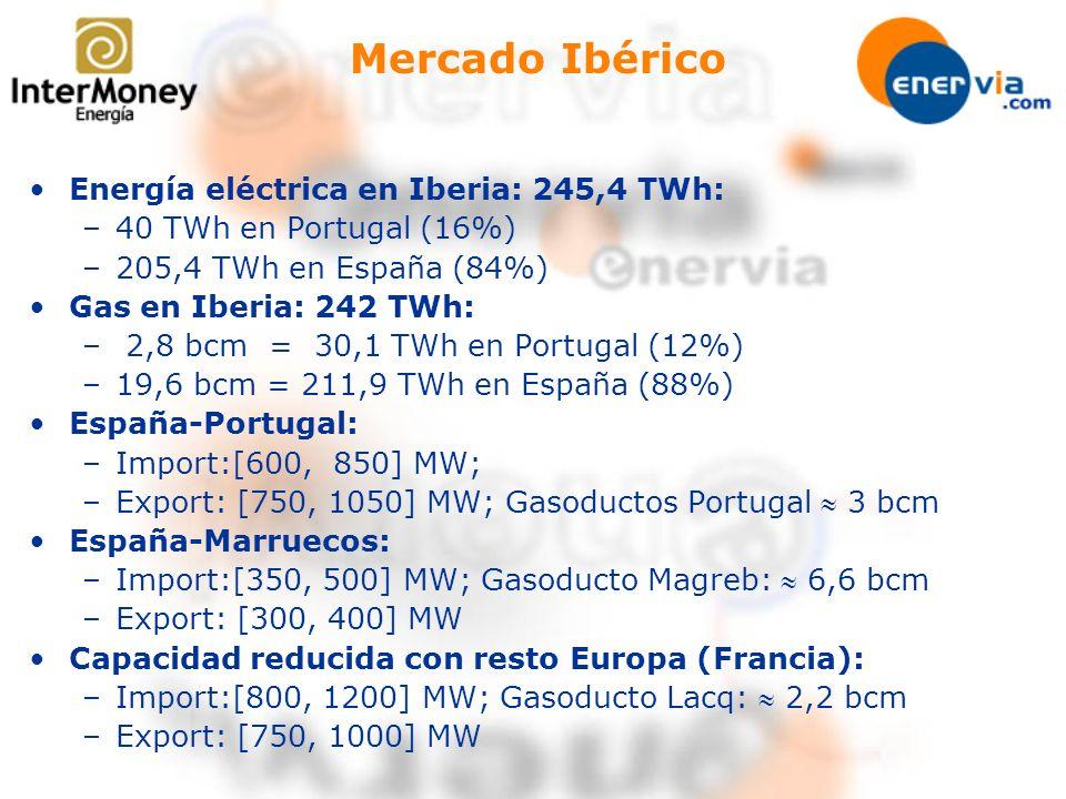 Mercado Ibérico Energía eléctrica en Iberia: 245,4 TWh: –40 TWh en Portugal (16%) –205,4 TWh en España (84%) Gas en Iberia: 242 TWh: – 2,8 bcm = 30,1