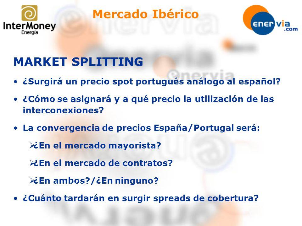 Mercado Ibérico MARKET SPLITTING ¿Surgirá un precio spot portugués análogo al español? ¿Cómo se asignará y a qué precio la utilización de las intercon
