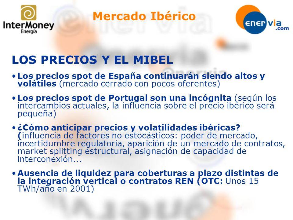 Mercado Ibérico LOS PRECIOS Y EL MIBEL Los precios spot de España continuarán siendo altos y volátiles (mercado cerrado con pocos oferentes) Los preci