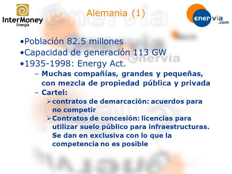 Alemania (1) Población 82.5 millones Capacidad de generación 113 GW 1935-1998: Energy Act. –Muchas compañías, grandes y pequeñas, con mezcla de propie