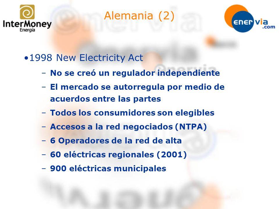 Alemania (2) 1998 New Electricity Act –No se creó un regulador independiente –El mercado se autorregula por medio de acuerdos entre las partes –Todos