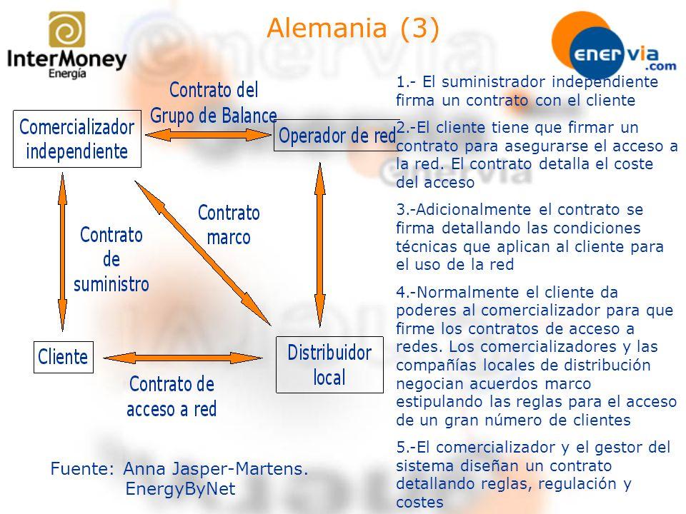 Alemania (3) Fuente: Anna Jasper-Martens. EnergyByNet 1.- El suministrador independiente firma un contrato con el cliente 2.-El cliente tiene que firm