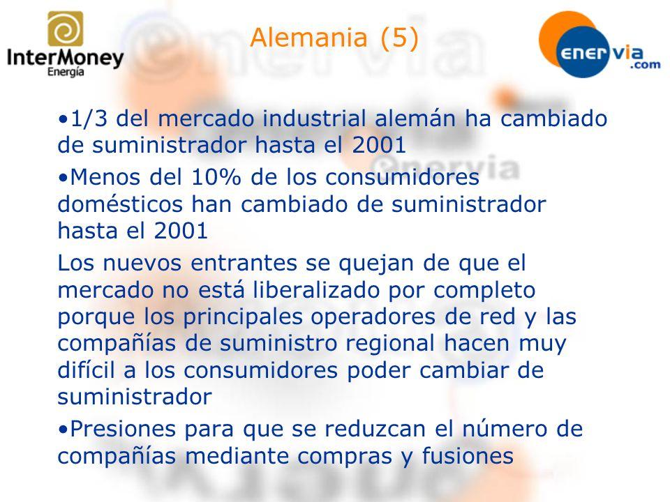 Alemania (5) 1/3 del mercado industrial alemán ha cambiado de suministrador hasta el 2001 Menos del 10% de los consumidores domésticos han cambiado de