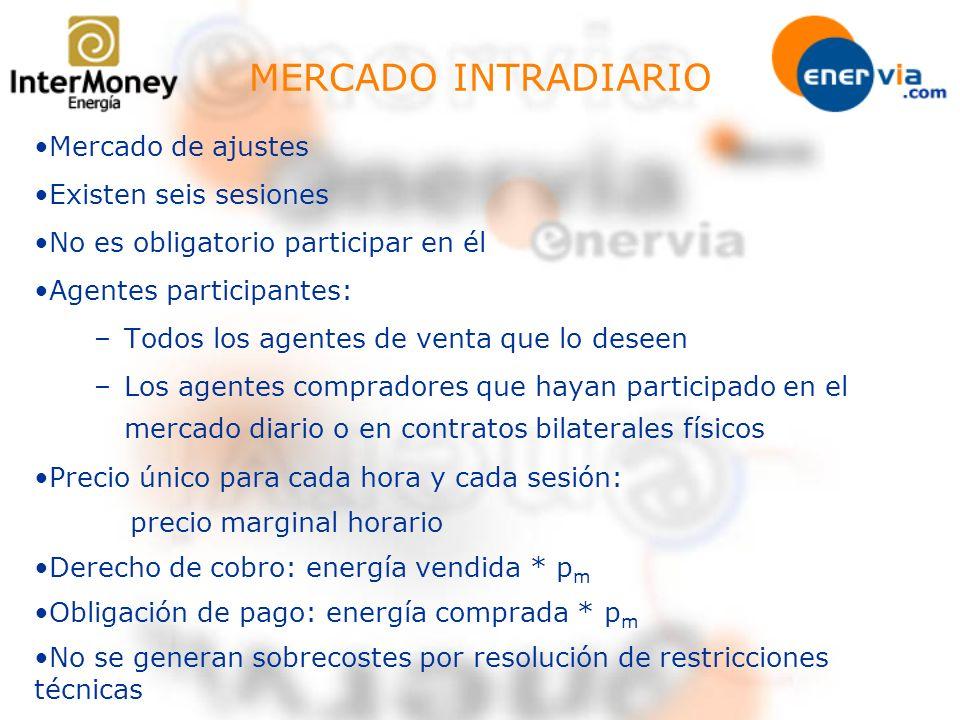 MERCADO INTRADIARIO Mercado de ajustes Existen seis sesiones No es obligatorio participar en él Agentes participantes: –Todos los agentes de venta que