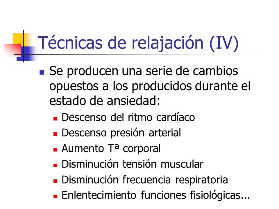 Técnicas de relajación (IV) Se producen una serie de cambios opuestos a los producidos durante el estado de ansiedad: Descenso del ritmo cardíaco Desc
