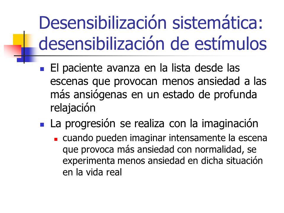 Desensibilización sistemática: desensibilización de estímulos El paciente avanza en la lista desde las escenas que provocan menos ansiedad a las más a