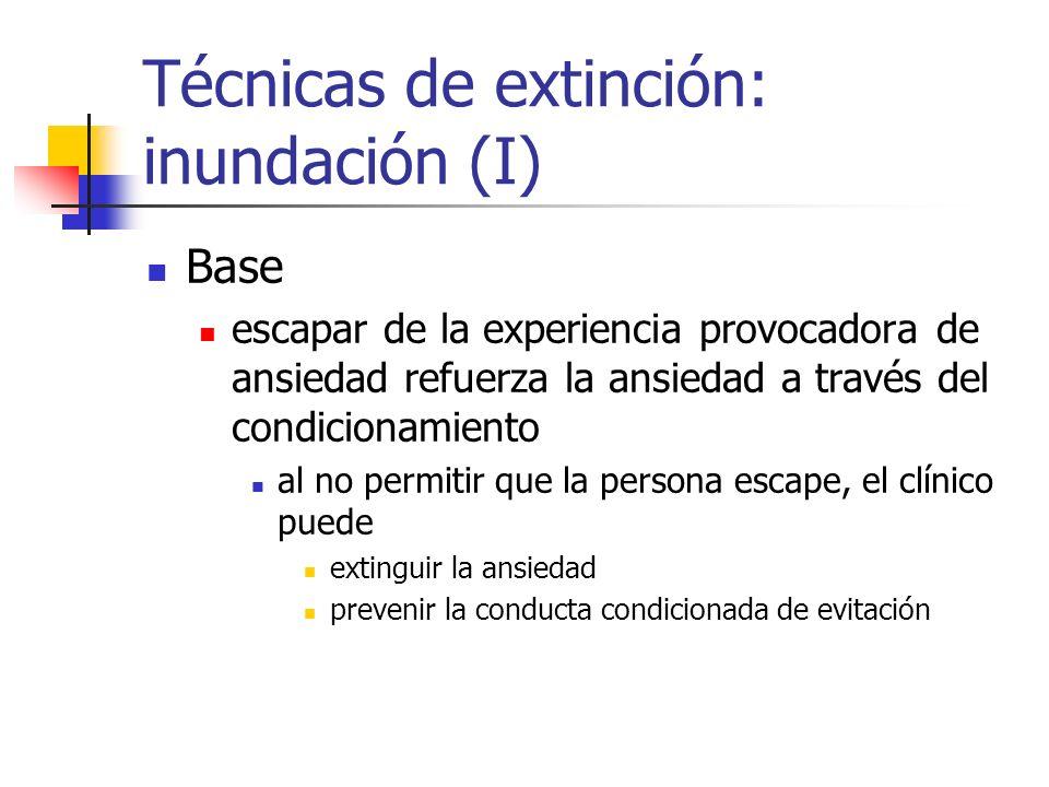 Técnicas de extinción: inundación (I) Base escapar de la experiencia provocadora de ansiedad refuerza la ansiedad a través del condicionamiento al no