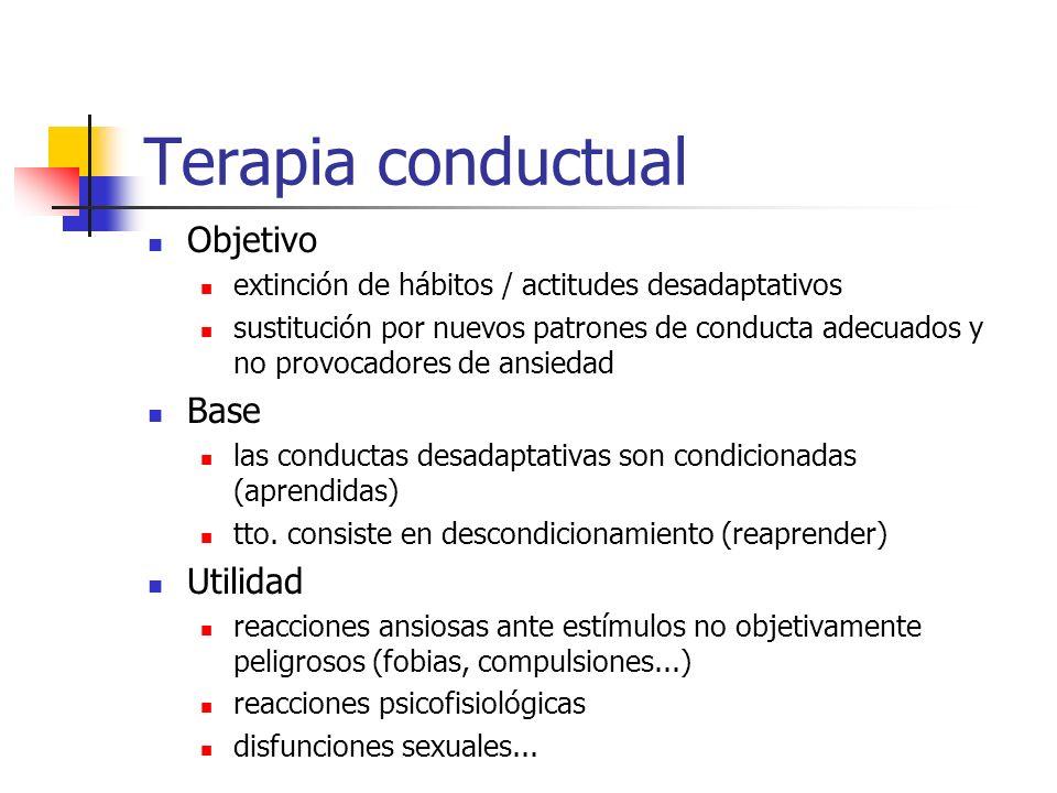 Terapia conductual Objetivo extinción de hábitos / actitudes desadaptativos sustitución por nuevos patrones de conducta adecuados y no provocadores de