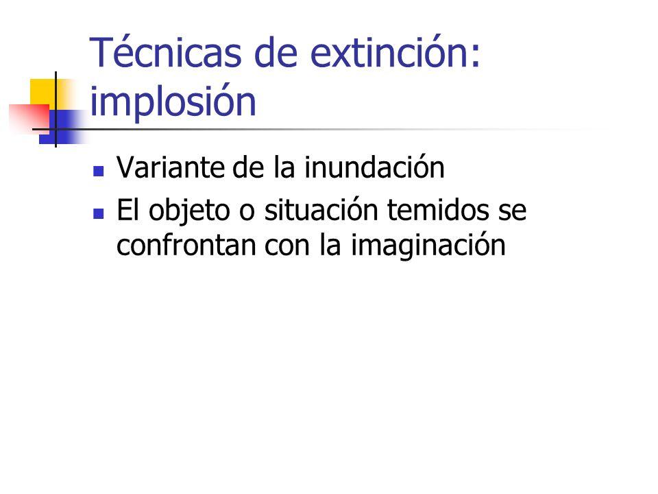 Técnicas de extinción: implosión Variante de la inundación El objeto o situación temidos se confrontan con la imaginación