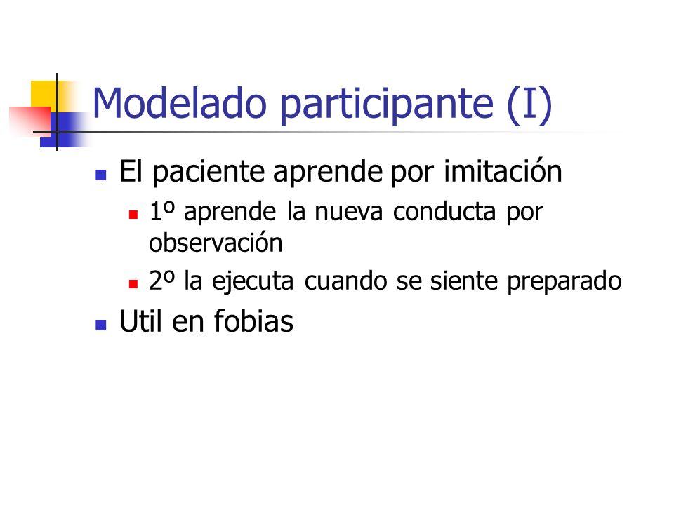 Modelado participante (I) El paciente aprende por imitación 1º aprende la nueva conducta por observación 2º la ejecuta cuando se siente preparado Util