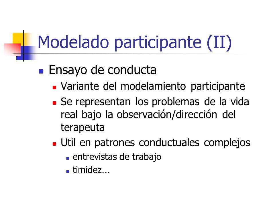 Modelado participante (II) Ensayo de conducta Variante del modelamiento participante Se representan los problemas de la vida real bajo la observación/
